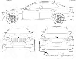 2011 bmw 5 series f10 sedan blueprints free outlines