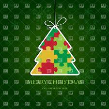 tree with puzzle pattern on green festive background