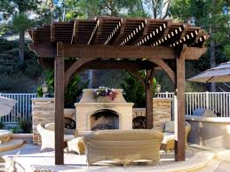 install a diy timber frame pergola over fireplace or fire pit pics