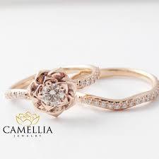 Rose Gold Wedding Ring Sets by 14k Rose Gold Diamond Engagement Ring Set Rose Gold Flower Ring
