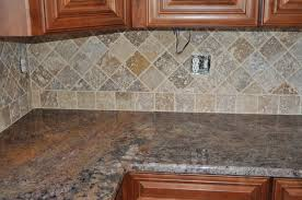 Tumbled Slate Backsplash by Diagonal Slate Backsplash Shown With Santa Cecilia Granite With