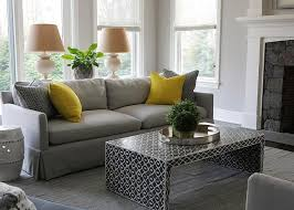Living Room Grey Sofa by Dove Gray Sofa With Canary Yellow Pillows Transitional Living Room