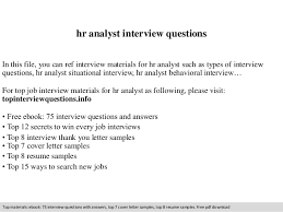 Hr Analyst Resume Sample hr analyst interview questions