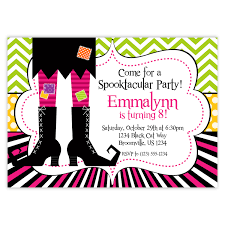 halloween themed birthday halloween invitation green pink black chevron stripes polka