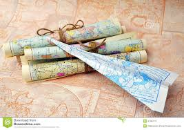 paper maps rolled maps and paper airplane stock photo image 47367217