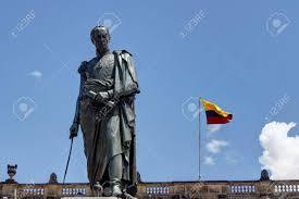 Bogota Flag Statue Of Simon Bolivar In Bogota With Capitol Behind Stock Photo