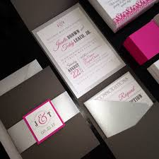 wedding pocket invitations charcoal and pink wedding invitations gray and magenta