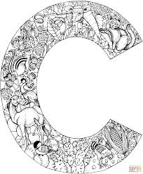 letter c with animals coloring page free printable coloring pages