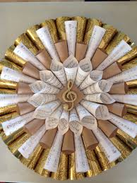 wreath made from sheet music and wrapping paper glued together