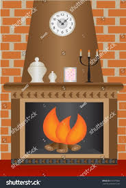 fireplace fire burning against brick wall stock vector 107577965