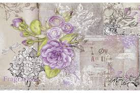mural retro card with purple roses in vintage style wall mural retro card with purple roses in vintage style