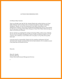 restaurant reference letter sample recommendation letter of a
