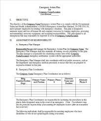 emergency action plan template u2013 8 free sample example format