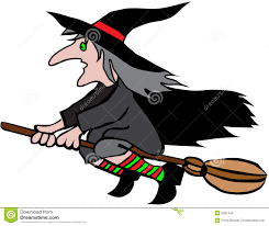clipart of halloween witch on a broomstick clipart collection