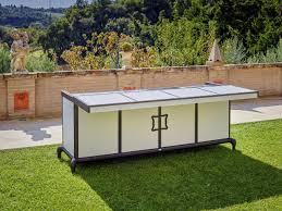 outdoor kitchen contemporary aluminum steel linear