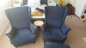Ikea Strandmon Armchair Pair Of Ikea Strandmon Wing Back Chairs And Footstool In Lewes