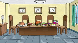 table full of food a dining room table full of food background cartoon clipart vector