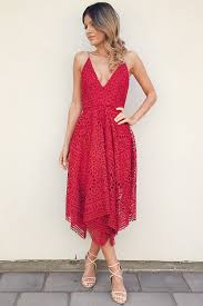 a line spaghetti straps red lace tea length prom homecoming dress