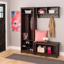 3 piece espresso space saving entryway coat organizer shoe storage