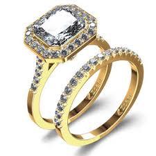 gold wedding rings sets 18k yellow gold radiant wedding ring set odba