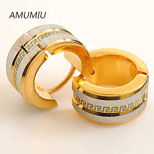 mens gold earrings amumiu factory price men earrings gold earrings 316l stainless