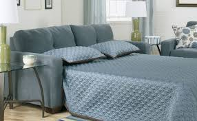 gray blue fabric sofa bed decor with green ceramic based table