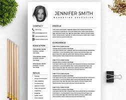 Marketing Executive Resume Sample by Resume Template Word Etsy