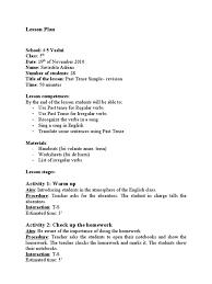 lesson plan 1 past tense grammatical tense lesson plan
