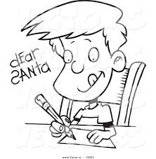 vector of a cartoon boy writing a dear santa letter outlined