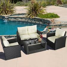 Black Outdoor Wicker Chairs 4pc Rattan Sofa Furniture Set Patio Cushioned Seat Black Wicker