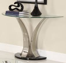 Half Moon Table Best Half Moon Glass Top Console Table With Unique Chrome Base For