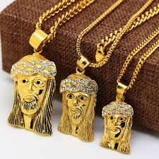 jesus piece necklace images 24k gold plated iced out lab simulated diamond mini micro jesus jpg