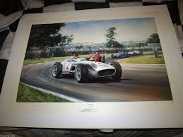 juan fangio autographed signed alan fearnley rare print mercedes