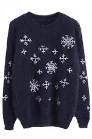 snowflake sweater navy blue cool snowflake crew neck pullover