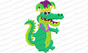 mardi gras alligator mardi gras alligator applique embroidery design