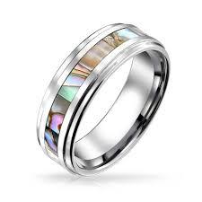 tungsten wedding ring unisex tungsten wedding band abalone shell inlay ring 8mm