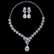 diamond sets design unique design snow flower jewelry sets with marquise cz