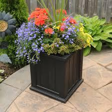 Black Planter Boxes by Mayne Square Polyethylene Cape Cod 16 X 16 Patio Planter Hayneedle
