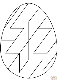 easter egg with abstract geometric pattern coloring page free
