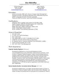 Sample Resume For Internal Auditor by Download Asq Certified Quality Engineer Sample Resume