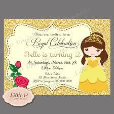Princess Birthday Invitation Cards Belle Invitation Belle Birthday Invitation Belle Party
