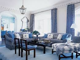 Wall Mirrors For Living Room by Calming French Living Room With Blue Curtains And Furniture