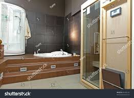 modern bathroom interior sauna hydro massage stock photo 95166154