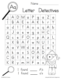letter detectives worksheets aa to zz kindergartenklub com