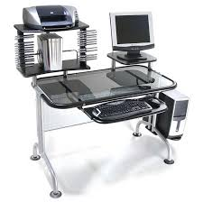 small glass computer desk with metal frame and with slider