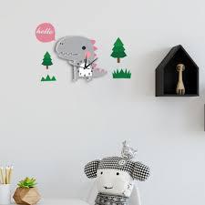 cute 3d dinosaur design wall clock dudedino