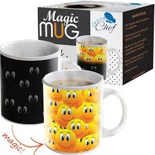 magic coffee heat sensitive mug color changing smiley faces design