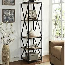 tall narrow bookcase shelves wood metal shelf rustic industrial