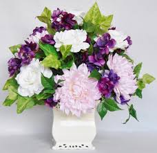 artificial flower arrangement baby pink dahlias creamy white