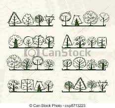 vectors of sketch of trees on shelves for your design csp8713223
